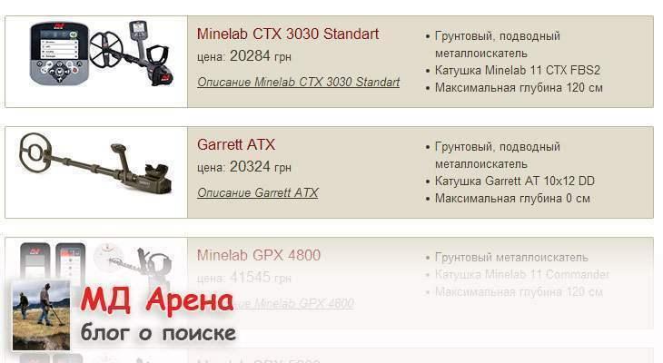 Металлоискатель Garrett ATX цена в Украине. Стоимость Garrett ATX выше, чем Minelab CTX 3030