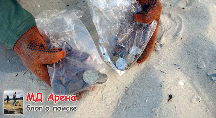 Монеты находки с пляжного поиска с металлоискателем Garrett AT PRO