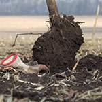 Чистим лопату в гряземес